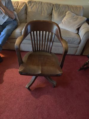 Heavy Wooden Office Chair with Wheels - $25.00 for Sale in St. Louis, MO