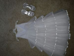 First communion or flower girl dress with shoes for Sale in Wichita, KS