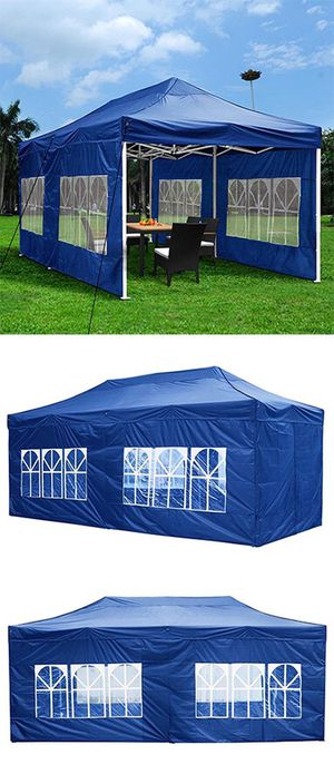 New in box $210 Heavy-Duty 10x20 Ft Outdoor Ez Pop Up Party Tent Patio Canopy w/Bag & 6 Sidewalls, Blue for Sale in South El Monte, CA