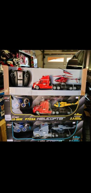 New 2 in 1 remote control helicopter and truck combo $36 each for Sale in Riverside, CA