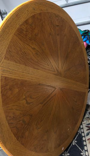 Beautiful solid oak kitchen table with insert and 4 solid oak matching chairs for Sale in Lafayette, CA