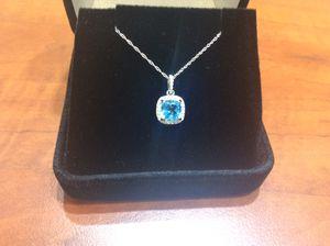 Diamond & blue topaz pendant in 14kt white gold for Sale in Annandale, VA