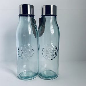 2 20 oz Venti Starbucks Collectible Recycled Glass Bottles for Sale in Orem, UT