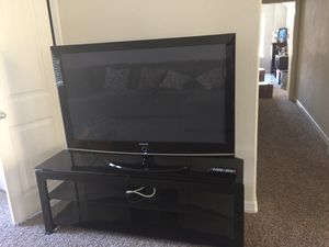Samsung plasma TV and glass table for Sale in Katy, TX