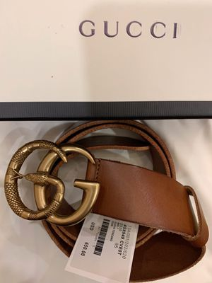 Gucci Belt Brown Tan with Gold Brass Snake Buckle New Unisex size 110 cm, 38/40 inch waist for Sale in New York, NY