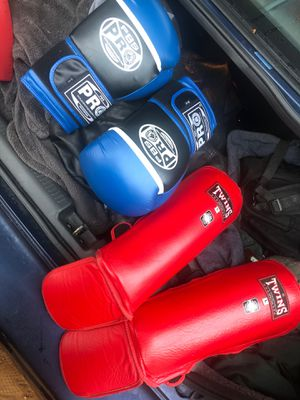 PBS pro 14 oz boxing Gloves, Twins large Shin Guards for Sale in Ramona, CA