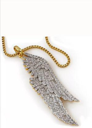 18K Gold Plated Angel WING Stainless Steel Chain Out Iced CZ Pendant Necklace for Sale in Los Angeles, CA