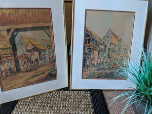 Asian Vintage art pictures original watercolor paintings Singapore for Sale in Largo, FL