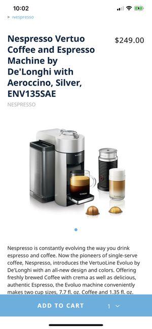 Nespresso Vertuo Coffee and Espresso Machine by De'Longhi with Aeroccino, Silver, ENV135SAE for Sale in Oakland, CA