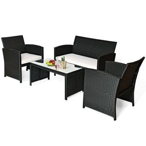 4PCS Patio Rattan Furniture Conversation Set Cushioned Sofa Table Outdoor Black for Sale in New York, NY