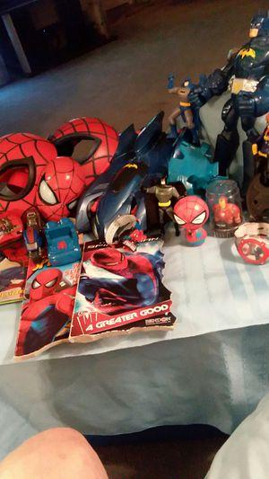 Batman Spiderman batcar figures watches books alot here 20 FIRM for Sale in Mesa, AZ