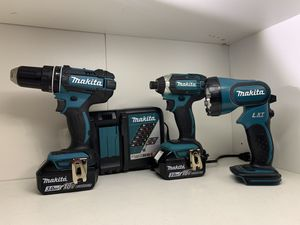 Kit Makita with Impact Drill ,Hammer Drill ,flashlight,charger and 2 battery's (3.0) BRAND NEW for Sale in Dallas, TX