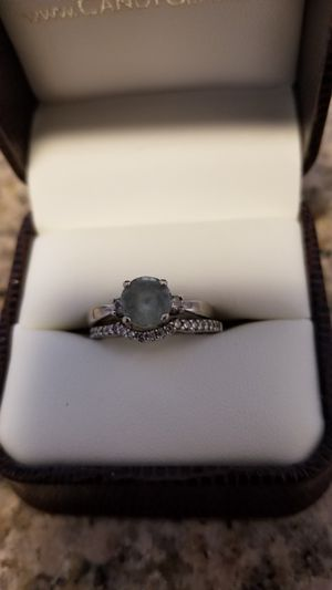 Aquamarine ring, diamond wedding band for Sale in Hyattsville, MD