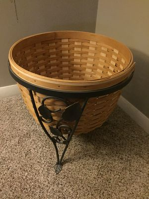 Longaberger At Home Garden Collection Wrought Iron Plant Holder, Ficus Basket and Plastic Protector for Sale in Derby, KS
