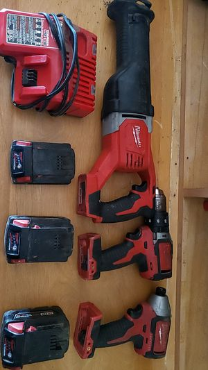Milwaukee 18 volt cordless hammer drill impact sawzall 3 batteries and charger for Sale in Medina, OH