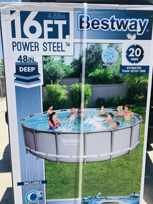 Swimming 🏊♀️ 🏊☀️New Bestway Power Steel 16ft x 48 inches Deep ☀️☀️ for Sale in Hacienda Heights, CA