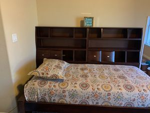New headboard/foot board with sliding doors and hidden storage, 6 chest of drawers and bookcase with 6 shelves MATCHING SET WILL NOT BREAK APART FIRM for Sale in Leander, TX