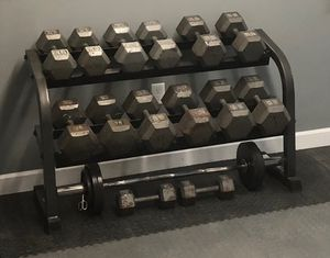 Dumbbells with rack for Sale in Portsmouth, VA