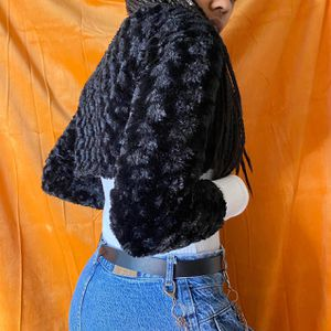 BLACK COMFY FAUX SILKY FUR CROPPED CREWNECK COMMUNION CARDIGAN SWEATER 🖤 for Sale in Decatur, GA