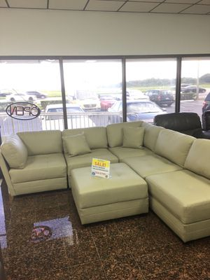 COMFY NEW MONACO LEATHER GEL SECTIONAL AND OTTOMAN SET. AVAILABLE IN BEIGE AND GRAY. FALL SALE EVENT BLOWOUT!!! SAME DAY DELIVERY! NO CREDIT CHECK FI for Sale in St. Petersburg, FL