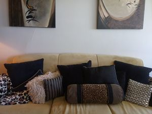 Sofa with designer pillows 130.00 for Sale in St. Louis, MO