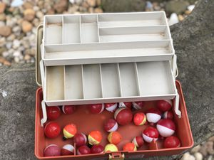Vintage Plastic Fishing Tackle Box (w/bobbers) for Sale in Pittsburgh, PA