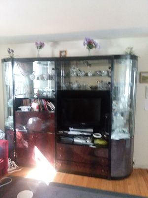 Bright Wall Unit (4 detachable sections) - Mirrored Shelves, Desk, Drawers, TV Media Space.Made in Italy for Sale in Passaic, NJ