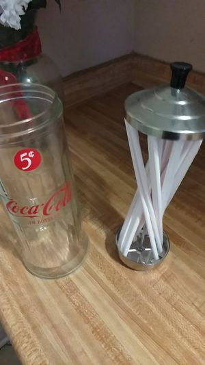 Coca Cola glass container for straws for Sale in Hemet, CA
