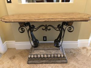 Elegant Console Table- Marble-iron-stone for Sale in JUPITER INLET, FL
