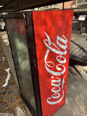 Cola fridge w/metal shelves for Sale in Richmond, TX