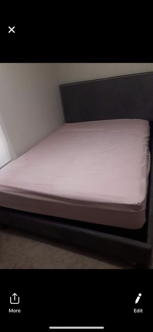 Beautiful queen grey bed frame barely used for Sale in Brownsville, TX