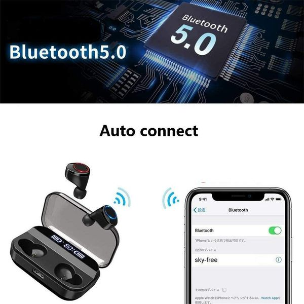 Wireless Earbuds, BLZK Latest Bluetooth 5.0 True Wireless Bluetooth Earbuds, with bass 3D Stereo Sound Wireless Headphones, Built-in Microphone LED