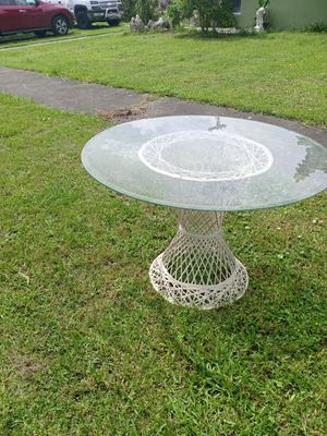 Wicker Table Thick Solid Beveled Glass for Sale in Miami, FL
