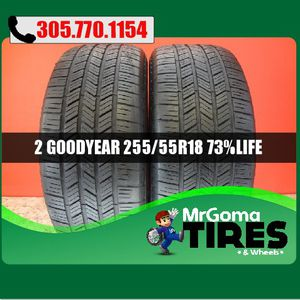 2 GOODYEAR EAGLE LS-2 RFT XL 255/55/18 USED TIRES 73.5% LIFE LS2 109H 2555518 for Sale in Miami, FL