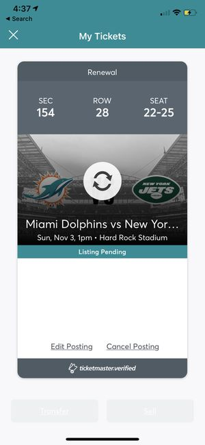 Miami Dolphins vs NY JETS, 4 tix plus parking pass 11/3 for Sale in Fort Lauderdale, FL