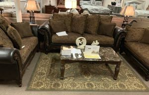 Dark Wood And Leather Living Room Set (sofa And Love Seat) for Sale in Harrisburg, PA