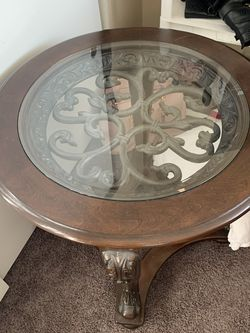rich dark wood and glass end table for Sale in Long Beach,  CA