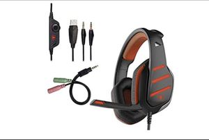 Beexcellent GM-3 Gaming Headset, Noise Isolating 3.5mm Overear Headphones with Mic LED Light Volume Control Splitter for PS4 Xbox One PC Laptop Table for Sale in Franklin Township, NJ