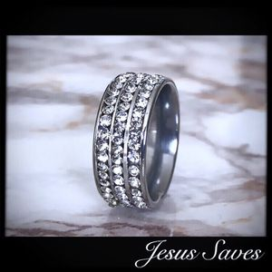 Stainless Steel Three Row CZ Ring Sizes In Description for Sale in Fresno, CA