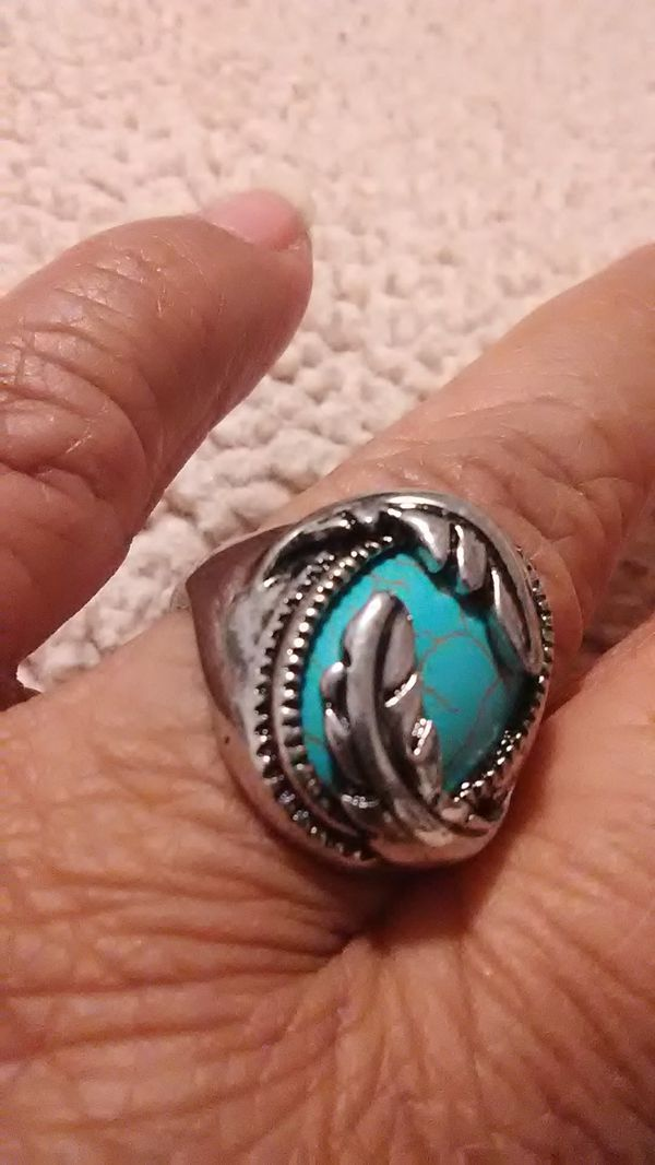 Men's turquoise feather ring size 81/2 to 9