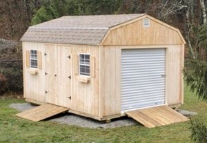 New 12' x 16' x 7' T1-11 Gambrel Shed with Rollup Garage Door for Sale in Rehoboth, MA