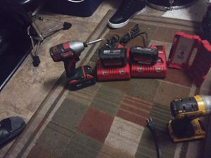Milwaukee impact drill 2 chargers and 3 batteries + bit set for Sale in Auburn, WA