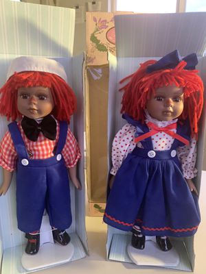 Beautiful Raggedy Ann & Andy Collectible Porcelain Dolls for Sale in Bridgeton, NJ