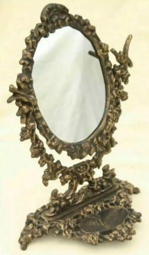 Antique Gold Cast Iron Vintage Victorian Swivel Vanity Mirror for Sale in Arlington, TX