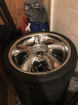 20 in chrome rims with two good tires for Sale in Pittsburgh, PA