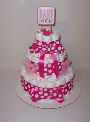 Diaper Cake for Baby Girl (3 Tier) for Sale in Killeen, TX