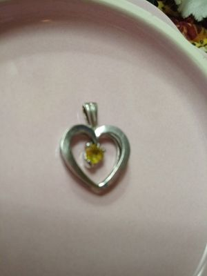 Silver Heart Charm Pendant with Gem for Sale in OR, US