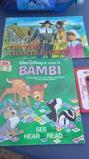 Vintage Walt Disney Bambi and cassette tape/first Thanksgiving book for Sale in Columbus, OH