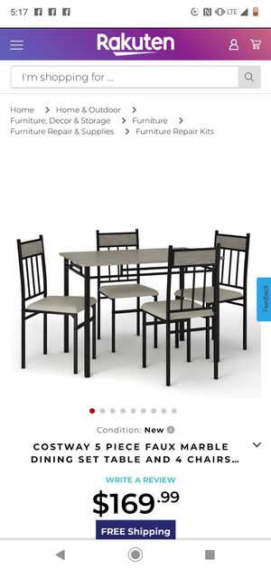 (((Brand New still in the box )))) HW52164 New Costway 5 Piece Faux Marble Dining Set Table and 4 Chairs Kitchen Breakfast Furniture sold by Costway. for Sale in Phoenix, AZ