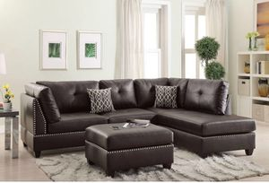 Espresso bonded leather sectional sectional sofa couch ottoman included for Sale in Norwalk, CA